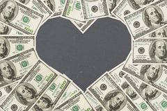 The love of money with 100 dollar bills royalty free stock image