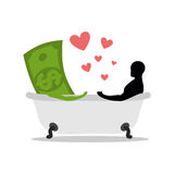 Love of money. Dollar and man in bath. Man and cash washing in b Royalty Free Stock Photos