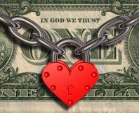 We love money - heart lock and money vector illustration
