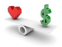 Love and Money opposition. Royalty Free Stock Images