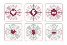 Signs of the heart, dollar and crown stock images