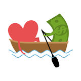 Love and money Ride in boat. Selling love. Dollar and heart.  Vector Illustration