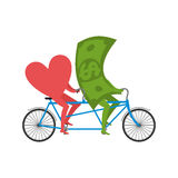 Love and money in Tandem. Selling love. Dollar and heart cycling Stock Image