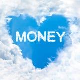 Love money word on blue sky Royalty Free Stock Photo