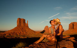 Love in monument valley Royalty Free Stock Photo