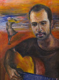 Love mood. Original oil painting of enamoured man Stock Photo