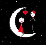 Love on moon Royalty Free Stock Photos