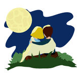 Love moon. Two lovers under the moon vector illustration