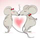 Love mouse on the background of hearts Royalty Free Stock Photos