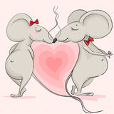 Love the mouse on the background of pink hearts Royalty Free Stock Photos
