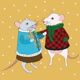 Love mouse in bright clothes under falling snow Stock Image