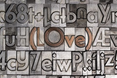 Love with movable type printing Stock Photo
