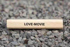 LOVE-MOVIE -与词与题目电影相关,词,图象,例证的图象 库存图片