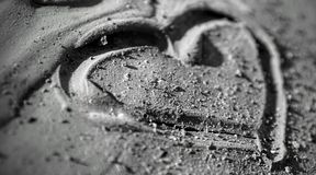 Love in the mud. Heart made in dry mud volcanoes in Romania Stock Photo