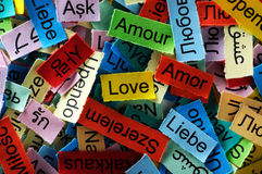Love multilingual word Royalty Free Stock Image