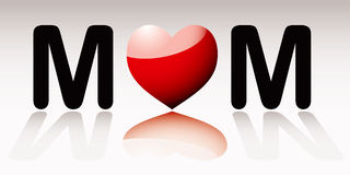 Love mum. Love heart mum icon for mothers day with reflection Royalty Free Stock Images
