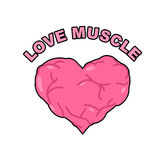 Love muscle. Strong Athletic heart with muscles and veins. Vecto Stock Photography