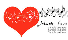 Love Music. Red heart with music notes isolated on white background royalty free illustration