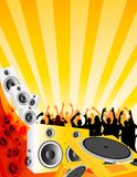 Love of Music. A design piece with drums and decks and a happy crowd of people Stock Photo