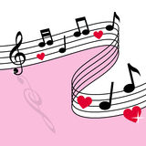 Love Music. Background with musical notes and red hearts. Useful also as St. Valentines or Saint Valentine s Day greeting card. Eps file available vector illustration