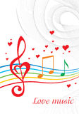 Love music. Vector colored music background with treble clef of heart shaped Royalty Free Stock Images