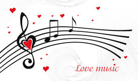Love music. Vector black and white music background with treble clef of heart shaped Stock Image