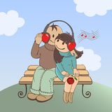 Love music. Loving couple sitting on a bench and listen to music vector illustration