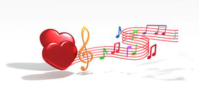 Love Music. Romantic music notes come from love heart symbols royalty free illustration
