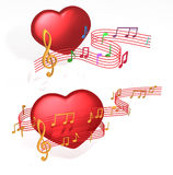 Love Music. Romantic music notes come from love heart symbols stock illustration