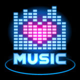Love Music Blue Neon Equalizer. Vector design icon.  Royalty Free Stock Photo