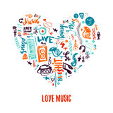 Love music colorful vector hand drawn doodles in shape of heart. Can be used for printable concert promotion. With lettering and music items vector illustration