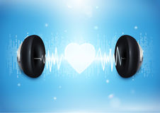 Love music concept. Headphones with sound wave and heart. On blue background Stock Images