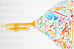 Love for music concept illustration background Stock Images