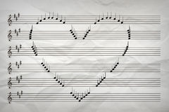 Love of Music Concept Love Song. Musical Notes Arranged into a Heart Shape Stock Image