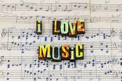 Love music fun feel enjoy live life heart soul letterpress type royalty free stock photos