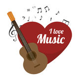 love music with guitar isolated icon design Royalty Free Stock Photography