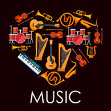 Love music heart made up of musical instruments Stock Image
