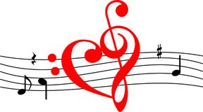 Love Music icon shape like heart. Love music, heart of music, music lover, vector clip art web banner icon Royalty Free Stock Photos