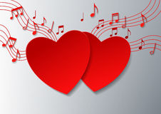Love Music with Hearts and Notes on White Background Royalty Free Stock Image