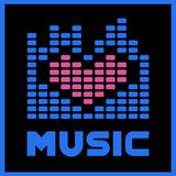 Love Music. Logo Blue Equalizer Stock Images