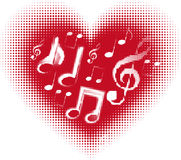 Love music. Music note in the heart. You can use in concerts, recitals, concerts, pub or bar background.(Vector halftone design royalty free illustration