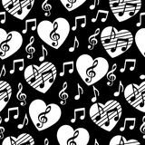 Love for music, musical abstract vector background, seamless pattern. Royalty Free Stock Photos