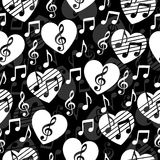 Love for music, musical abstract vector background, seamless pattern. Royalty Free Stock Images