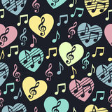 Love for music, musical abstract vector background, seamless pattern.  Stock Image