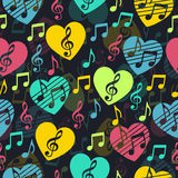 Love for music, musical abstract vector background, seamless pattern. Stock Images
