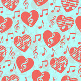Love for music, musical abstract vector background, seamless pattern.. Red heart with a treble clef and notes. For the design of wallpaper, wrap, fabric, prints Stock Photo