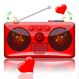 Love music radio. Radio receiver full of romantic music, musical notes and dancing red love hearts Royalty Free Stock Photo