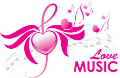 Love music, vector illustration. Heart, wings, note and treble clef, love music, vector illustration vector illustration