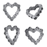 Love my bike chain icons. Bike heart shape chains icons Stock Images