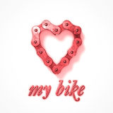 Love my bike heart chain Stock Photography